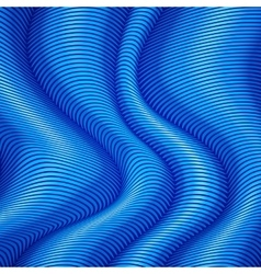 Blue striped waves 3d abstract background vector image