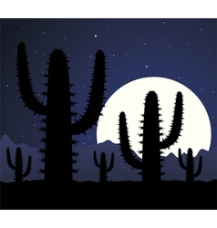 cactus in desert at night vector image