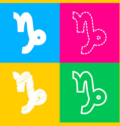 Capricorn sign four styles of icon vector