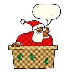 Cartoon bored santa claus with speech bubble vector