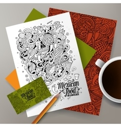 Cartoon cute hand drawn doodles mexican vector