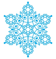 Christmas blue snowflake design - embroidery lace vector