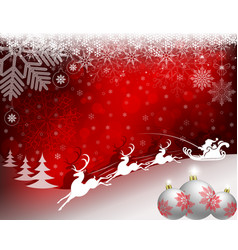 christmas red background with santa claus riding vector image vector image