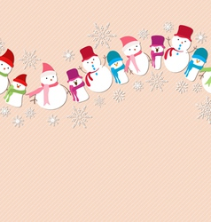 christmas snowman icons seamless pattern vector image vector image