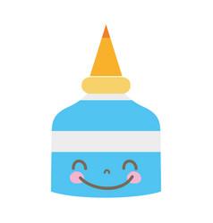 Colorful kawaii cute happy glue bottle vector
