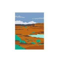 Columbian basin desert scene retro vector