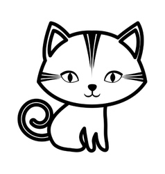 cute cat stripes sitting outline vector image vector image