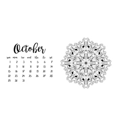 Desk calendar template for month october vector