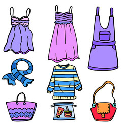 Doodle of women clothes bag and accessories vector