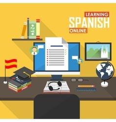 E-learning spanish language vector