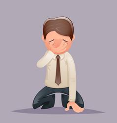 Facepalm kneel cry vintage businessman despair vector