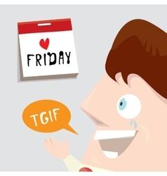Friday concept with cartoon businessman vector