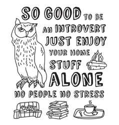 Happy introvert concept black and white vector image vector image