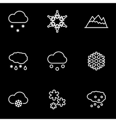 line snow icon set vector image vector image