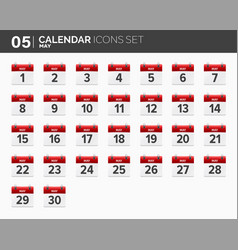 may calendar icons set date and time 2018 year vector image vector image