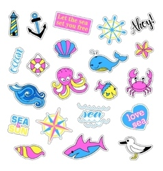 Pop art set with fashion patch badges sea vector