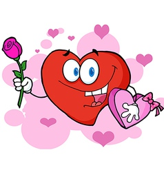 Red Valentine Heart Character Holding A Rose vector image vector image