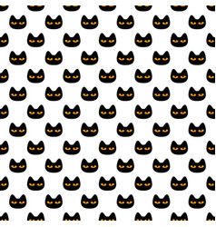 seamless pattern with black scary halloween cat vector image vector image