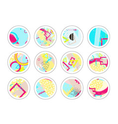 set of decor elements and stickers with geometric vector image vector image
