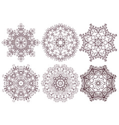 set of ornamental line patterns vector image