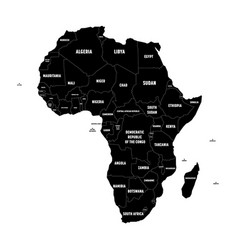 Simple flat black map of africa continent with vector