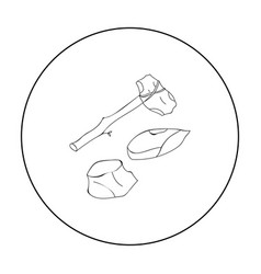Stone tools icon in outline style isolated on vector
