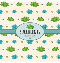 Succulents background with oval frame for text vector image vector image