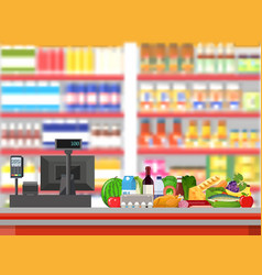 supermarket interior cashier counter workplace vector image vector image