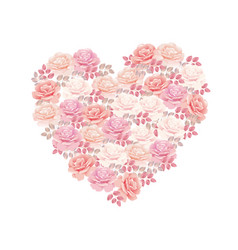 Tender color pink rose bouquet in heart shape vector