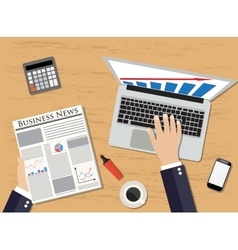 Top view of workplace manager holding newspaper vector image