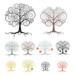 Trees Set Isolated on White Background - Abstract vector image