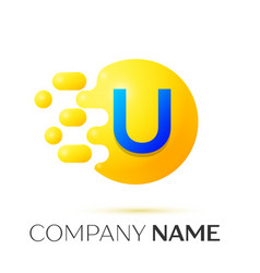 U letter splash yellow dots and circle bubble vector