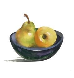 Watercolor still life with pear and apple on plate vector image