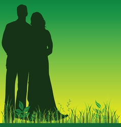Wedding couple silhouette in green color vector