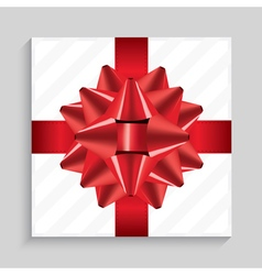 White square gift box with red bow vector