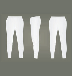 White tracksuit bottoms vector
