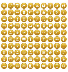 100 tools icons set gold vector