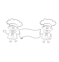 Cooks with poster outline vector image