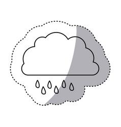 monochrome contour sticker of cloud with drizzle vector image