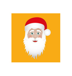Ochre square frame with christmas santa claus face vector