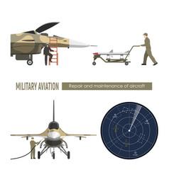 military airplane repair and maintenance vector image