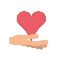 hand holding heart cartoon icon image vector image