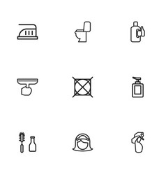 Set of 9 editable hygiene outline icons includes vector