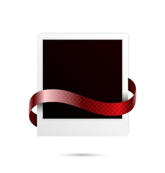 Polaroid with ribbon vector