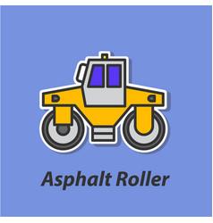 Asphalt roller color flat icon vector
