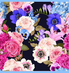Seamless pattern with garden flowers vector