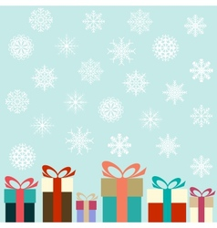 Flat colorful gifts and snowflakes vector