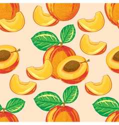 Seamless pattern of ripe peach vector