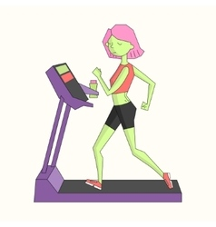 Girl run treadmill vivid color vector
