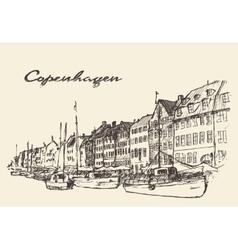 Copenhagen Denmark hand drawn vector image